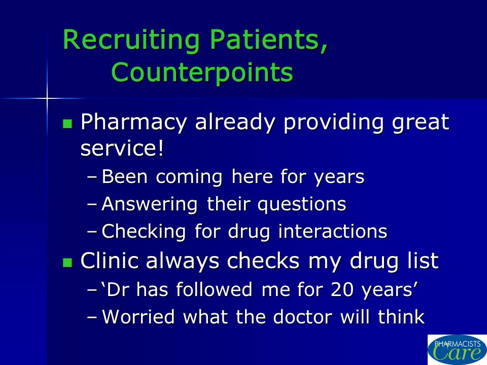 Recruiting Patients, Counterpoints Pharmacy already providing great service.