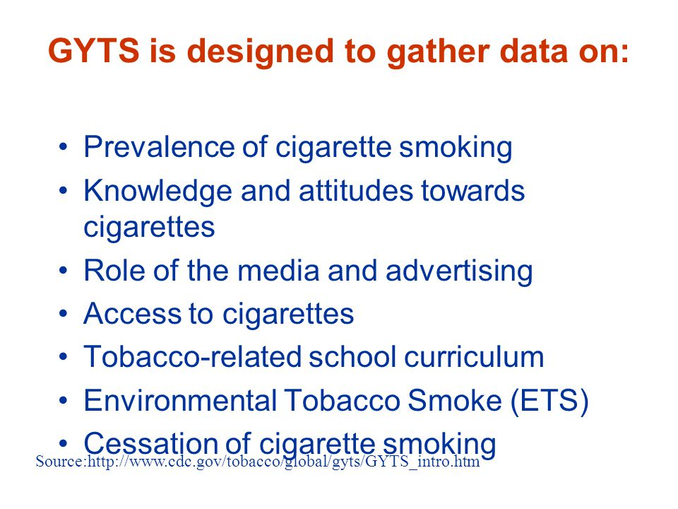 GYTS is designed to gather data on: Prevalence of cigarette smoking Knowledge and attitudes towards cigarettes Role of the media and advertising Acces