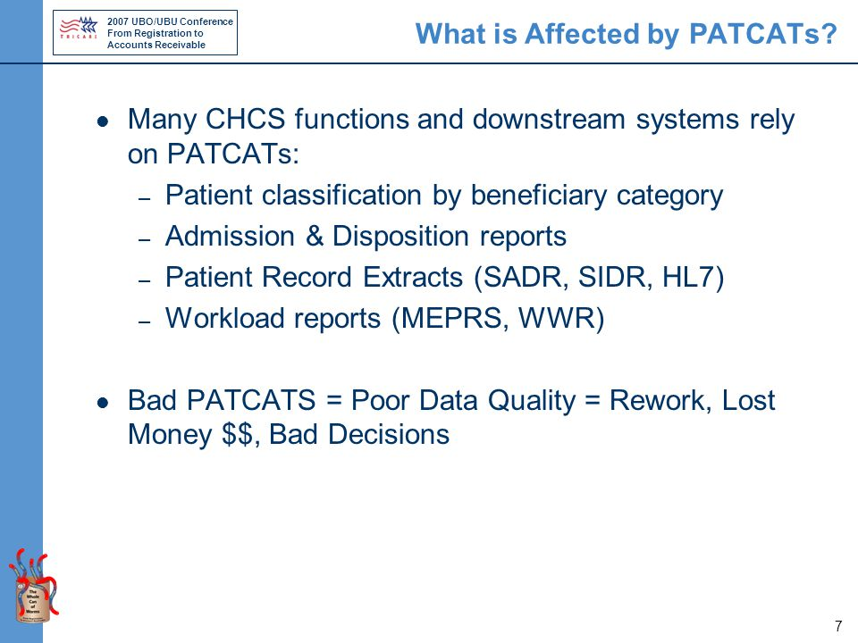 2007 UBO/UBU Conference From Registration to Accounts Receivable 7 What is Affected by PATCATs.