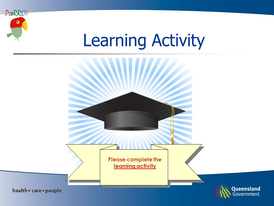 Learning Activity Please complete the learning activity learning activity