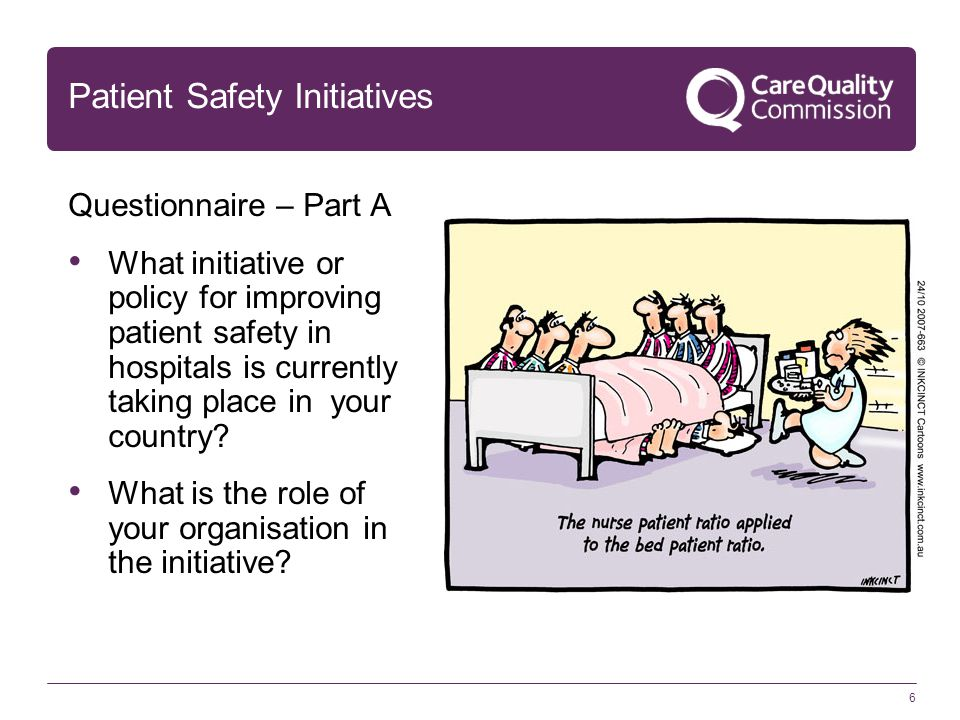 6 Patient Safety Initiatives Questionnaire – Part A What initiative or policy for improving patient safety in hospitals is currently taking place in y