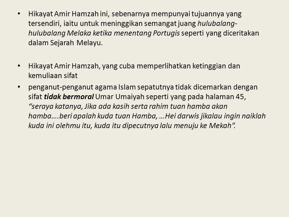 Hikayat Amir Hamzah ini, sebenarnya mempunyai tujuannya yang tersendiri, iaitu untuk meninggikan semangat juang hulubalang- hulubalang Melaka ketika menentang Portugis seperti yang diceritakan dalam Sejarah Melayu.