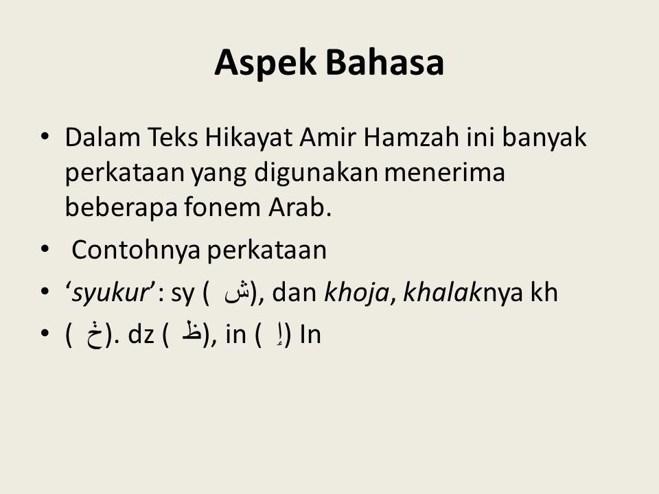 Aspek Bahasa Dalam Teks Hikayat Amir Hamzah ini banyak perkataan yang digunakan menerima beberapa fonem Arab. Contohnya perkataan 'syukur': sy ( ش ),