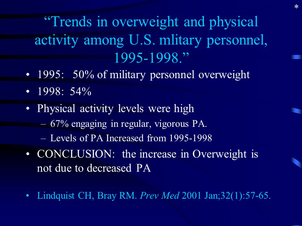 """Trends in overweight and physical activity among U.S. mlitary personnel, 1995-1998."" 1995: 50% of military personnel overweight 1998: 54% Physical ac"