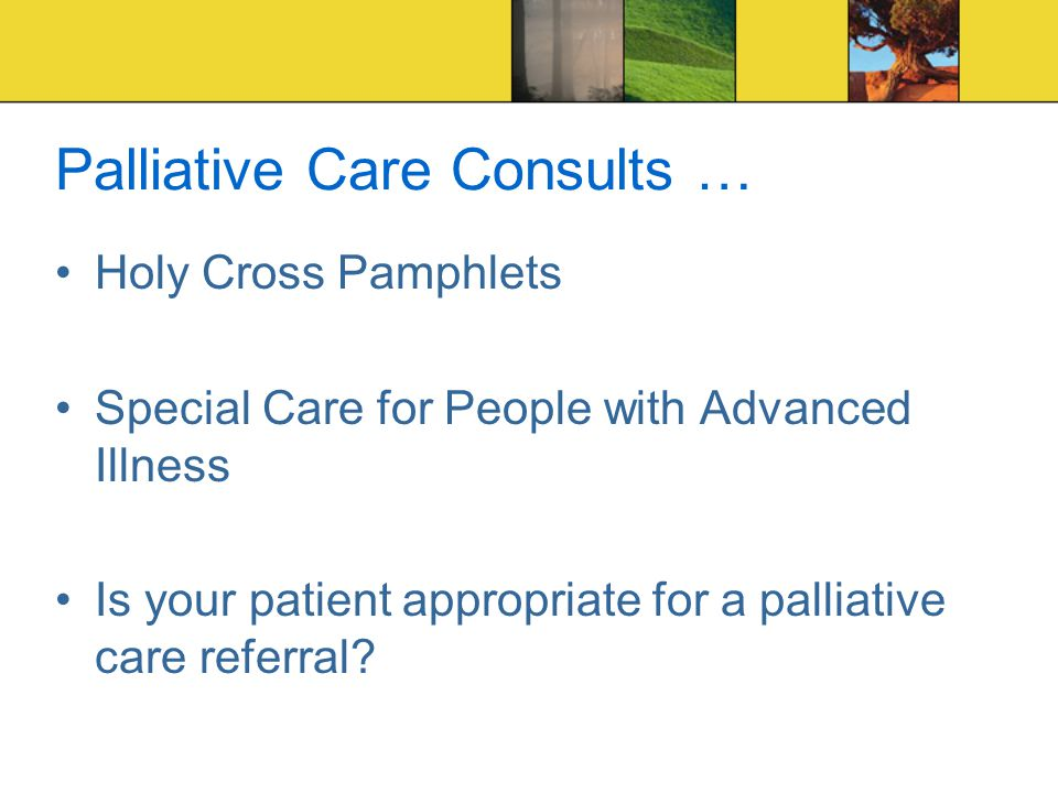 Palliative Care Consults … Holy Cross Pamphlets Special Care for People with Advanced Illness Is your patient appropriate for a palliative care referral