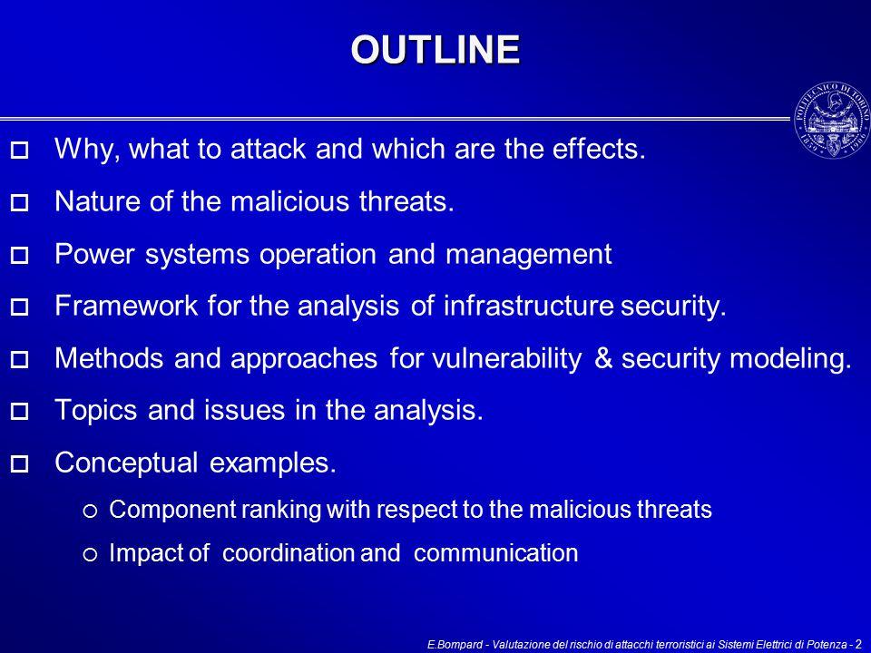 E.Bompard - Valutazione del rischio di attacchi terroristici ai Sistemi Elettrici di Potenza - 2OUTLINE  Why, what to attack and which are the effects.