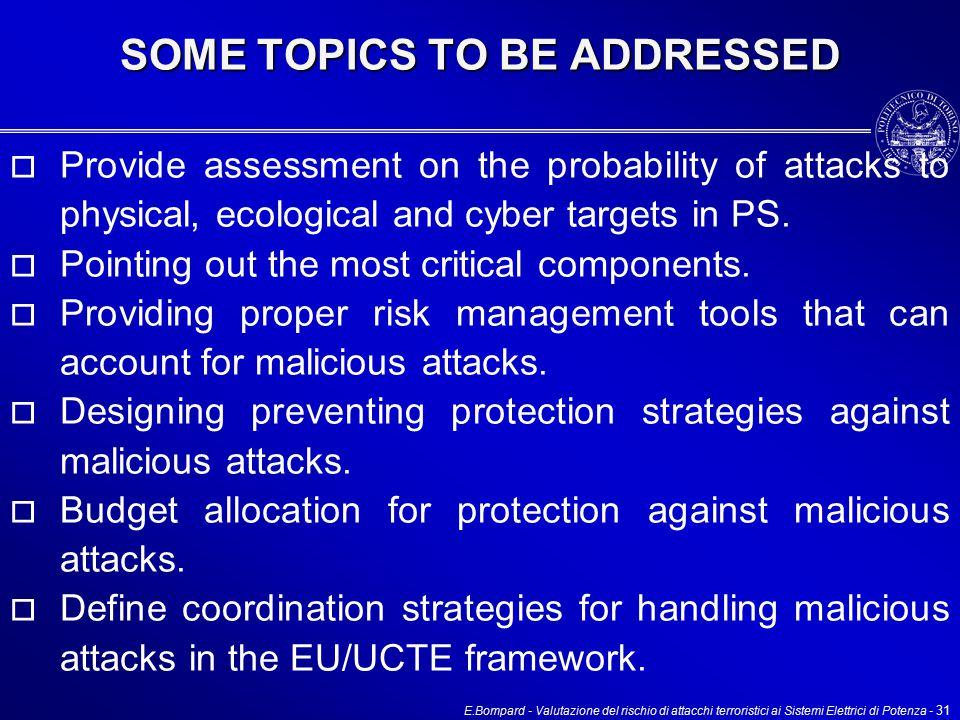 E.Bompard - Valutazione del rischio di attacchi terroristici ai Sistemi Elettrici di Potenza - 31  Provide assessment on the probability of attacks to physical, ecological and cyber targets in PS.