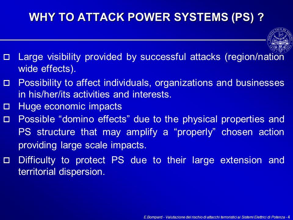E.Bompard - Valutazione del rischio di attacchi terroristici ai Sistemi Elettrici di Potenza - 4 WHY TO ATTACK POWER SYSTEMS (PS) .