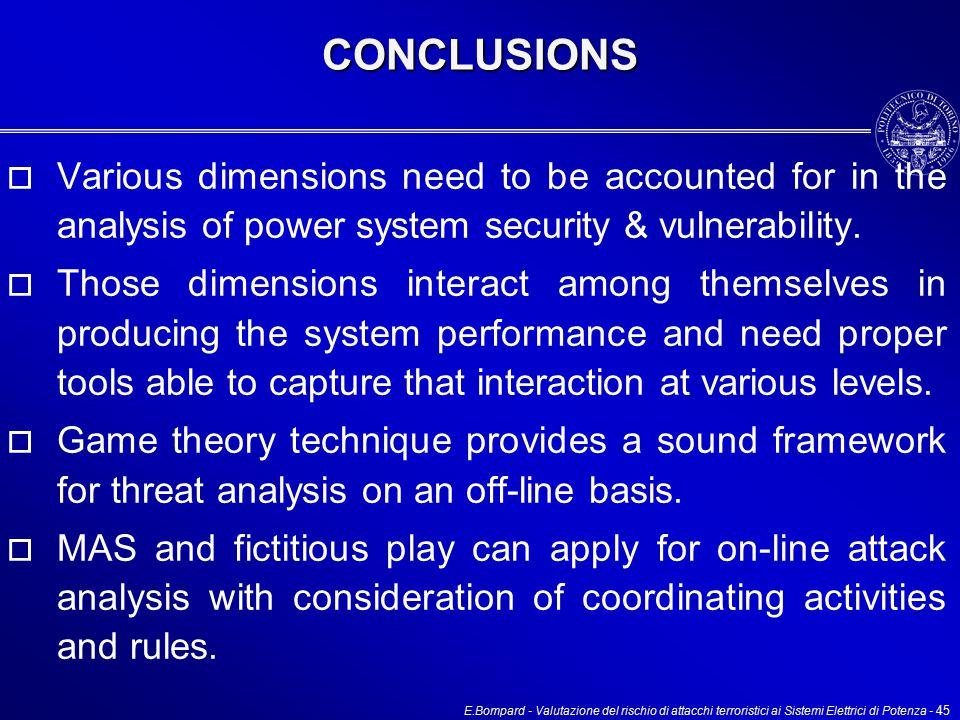 E.Bompard - Valutazione del rischio di attacchi terroristici ai Sistemi Elettrici di Potenza - 45CONCLUSIONS  Various dimensions need to be accounted for in the analysis of power system security & vulnerability.