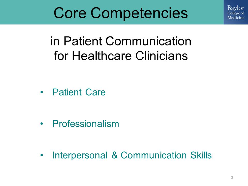 Core Competencies in Patient Communication for Healthcare Clinicians Patient Care Professionalism Interpersonal & Communication Skills 2
