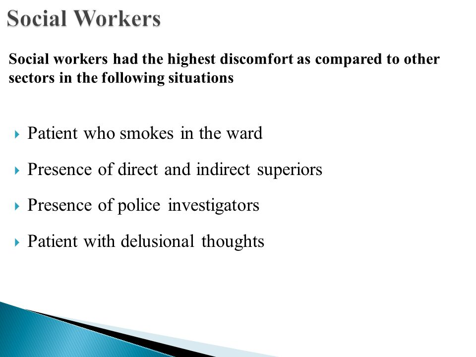  Patient who smokes in the ward  Presence of direct and indirect superiors  Presence of police investigators  Patient with delusional thoughts Social workers had the highest discomfort as compared to other sectors in the following situations