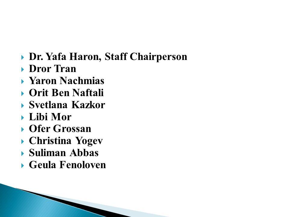  Dr. Yafa Haron, Staff Chairperson  Dror Tran  Yaron Nachmias  Orit Ben Naftali  Svetlana Kazkor  Libi Mor  Ofer Grossan  Christina Yogev  Su
