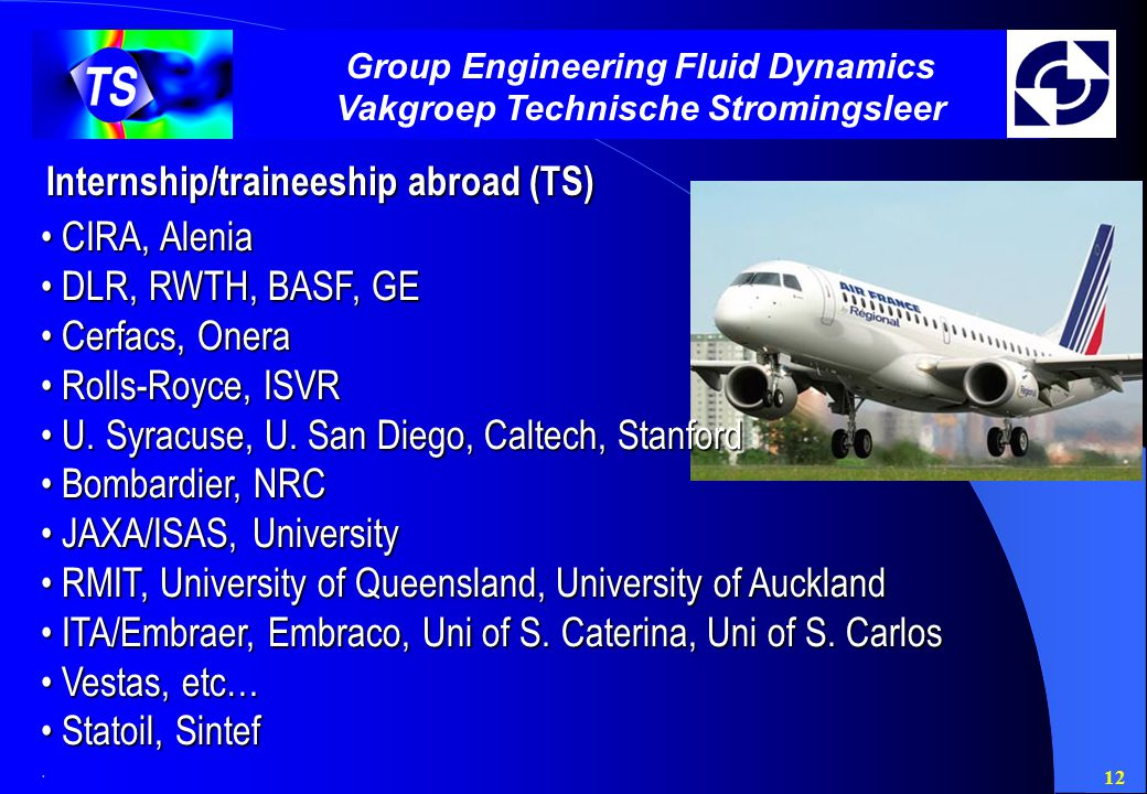 12 Group Engineering Fluid Dynamics Vakgroep Technische Stromingsleer Internship/traineeship abroad (TS) CIRA, Alenia CIRA, Alenia DLR, RWTH, BASF, GE DLR, RWTH, BASF, GE Cerfacs, Onera Cerfacs, Onera Rolls-Royce, ISVR Rolls-Royce, ISVR U.