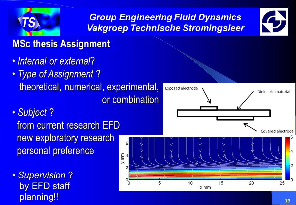 13 Group Engineering Fluid Dynamics Vakgroep Technische Stromingsleer MSc thesis Assignment Internal or external ? Internal or external ?. Type of Ass