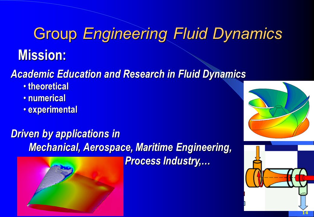 14 Group Engineering Fluid Dynamics Academic Education and Research in Fluid Dynamics theoretical theoretical numerical numerical experimental experimental Driven by applications in Mechanical, Aerospace, Maritime Engineering, Process Industry,… Mechanical, Aerospace, Maritime Engineering, Process Industry,… Mission:
