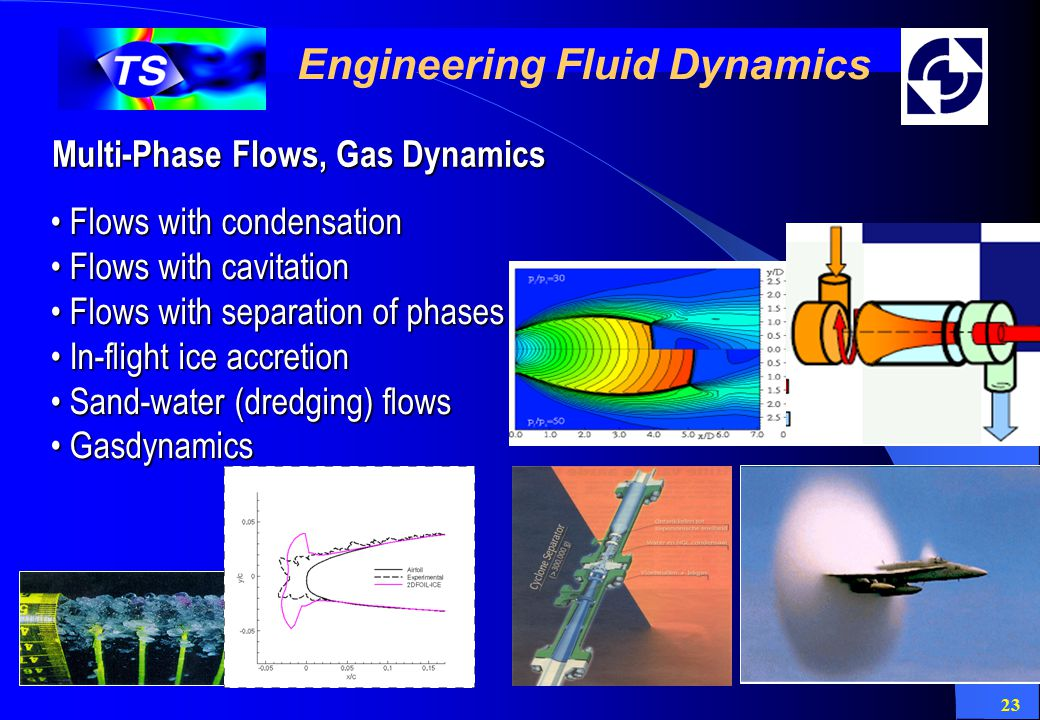 23 Engineering Fluid Dynamics Multi-Phase Flows, Gas Dynamics Flows with condensation Flows with condensation Flows with cavitation Flows with cavitation Flows with separation of phases Flows with separation of phases In-flight ice accretion In-flight ice accretion Sand-water (dredging) flows Sand-water (dredging) flows Gasdynamics Gasdynamics