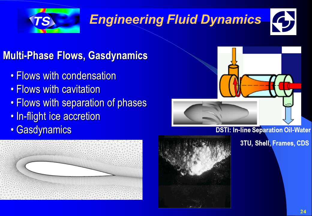 24 Engineering Fluid Dynamics Multi-Phase Flows, Gasdynamics Flows with condensation Flows with condensation Flows with cavitation Flows with cavitation Flows with separation of phases Flows with separation of phases In-flight ice accretion In-flight ice accretion Gasdynamics Gasdynamics DSTI: In-line Separation Oil-Water 3TU, Shell, Frames, CDS