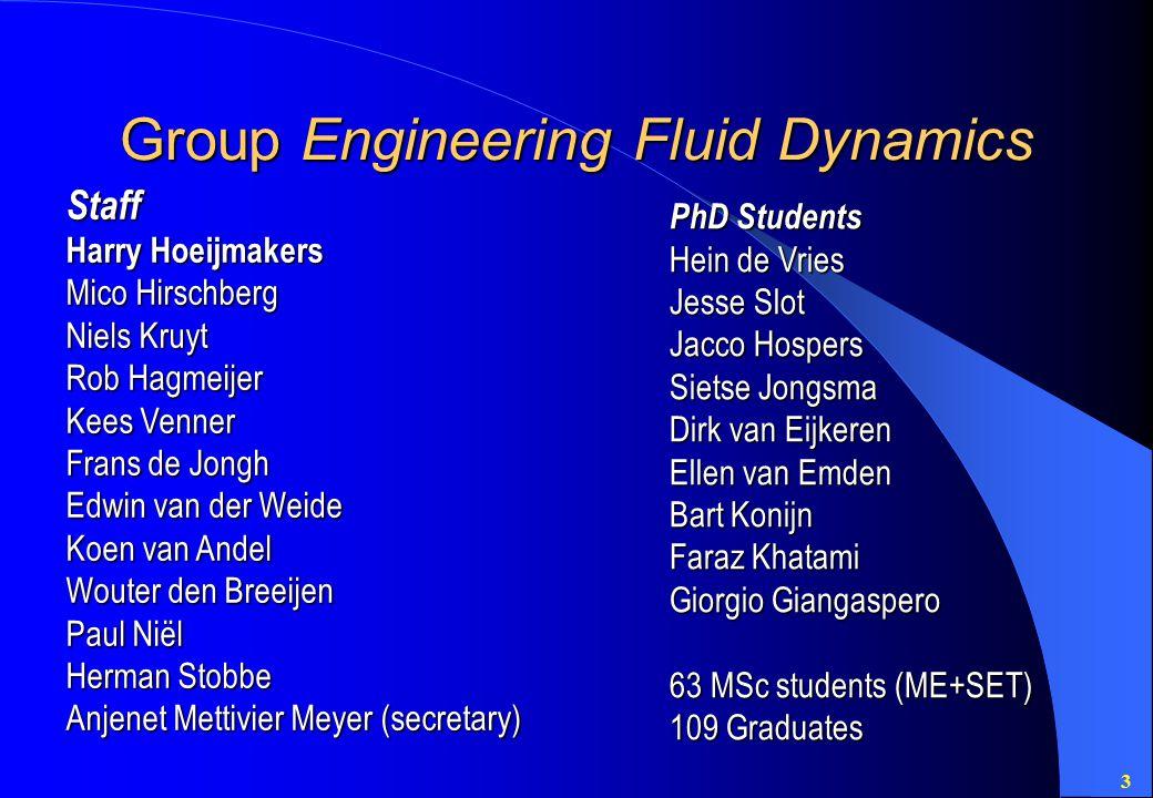3 Group Engineering Fluid Dynamics Staff Harry Hoeijmakers Mico Hirschberg Niels Kruyt Rob Hagmeijer Kees Venner Frans de Jongh Edwin van der Weide Ko