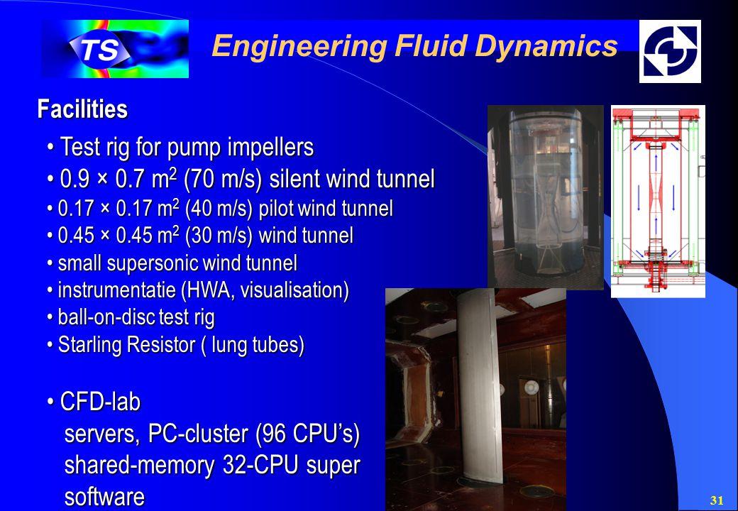 31 Engineering Fluid Dynamics Facilities Test rig for pump impellers Test rig for pump impellers 0.9 × 0.7 m 2 (70 m/s) silent wind tunnel 0.9 × 0.7 m