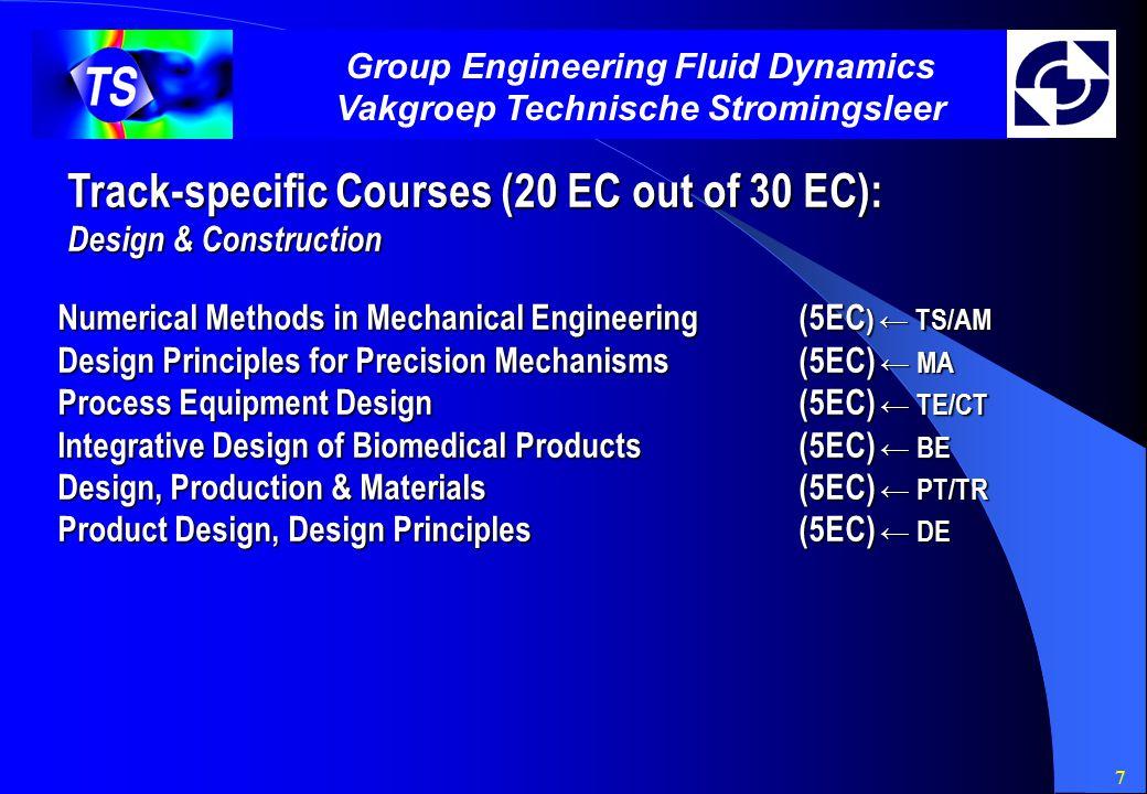 7 Group Engineering Fluid Dynamics Vakgroep Technische Stromingsleer Track-specific Courses (20 EC out of 30 EC): Design & Construction Numerical Meth