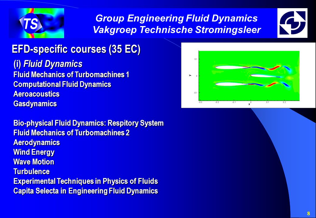 8 Group Engineering Fluid Dynamics Vakgroep Technische Stromingsleer EFD-specific courses (35 EC) (i) Fluid Dynamics Fluid Mechanics of Turbomachines 1 Computational Fluid Dynamics AeroacousticsGasdynamics Bio-physical Fluid Dynamics: Respitory System Fluid Mechanics of Turbomachines 2 Aerodynamics Wind Energy Wave Motion Turbulence Experimental Techniques in Physics of Fluids Capita Selecta in Engineering Fluid Dynamics