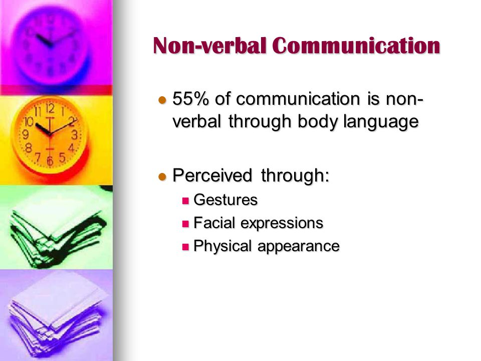 Non-verbal Communication 55% of communication is non- verbal through body language 55% of communication is non- verbal through body language Perceived