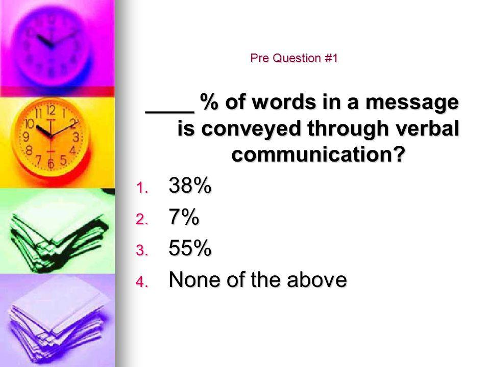 Pre Question #2 Communication is a one-way street? 1. True 2. False