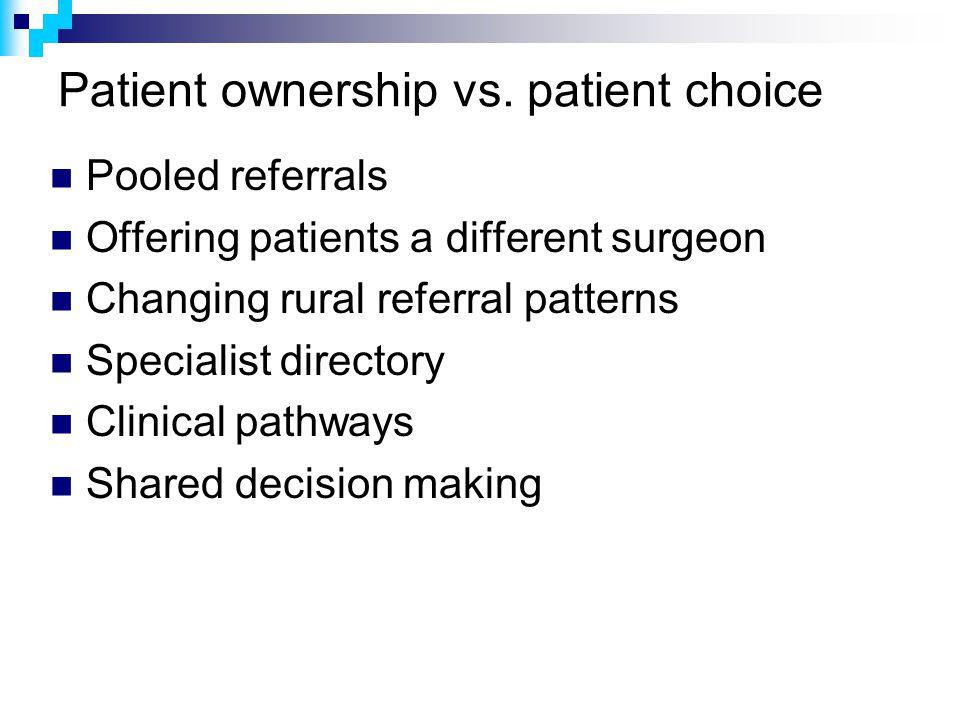 Patient ownership vs.