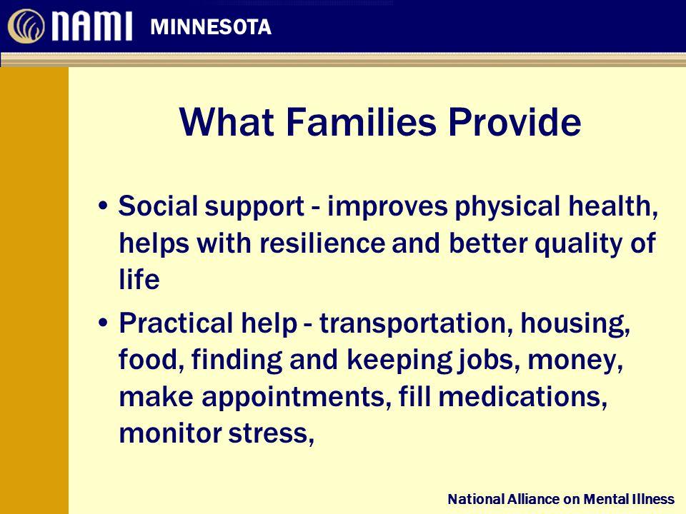 National Alliance on Mental Illness MINNESOTA National Alliance on Mental Illness What Families Provide Social support - improves physical health, hel
