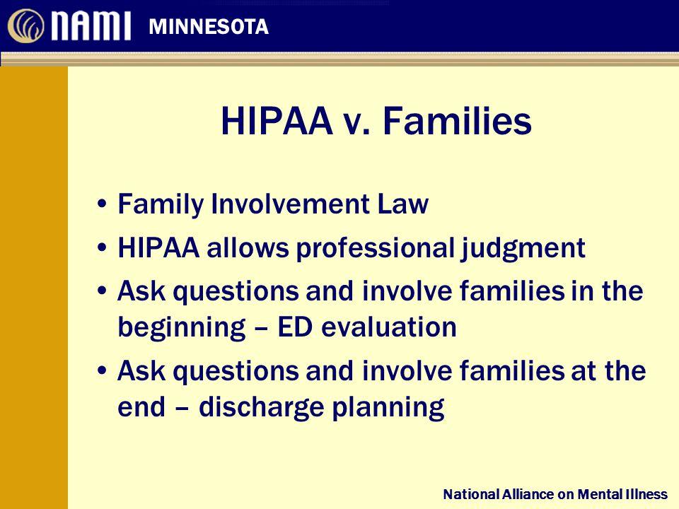 National Alliance on Mental Illness MINNESOTA National Alliance on Mental Illness HIPAA v.
