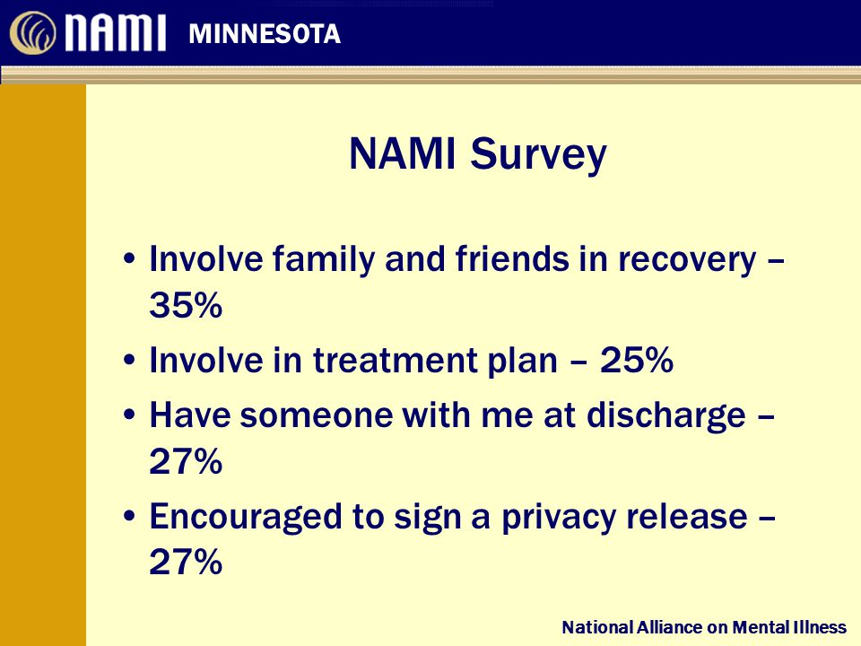 National Alliance on Mental Illness MINNESOTA National Alliance on Mental Illness NAMI Survey Involve family and friends in recovery – 35% Involve in treatment plan – 25% Have someone with me at discharge – 27% Encouraged to sign a privacy release – 27%