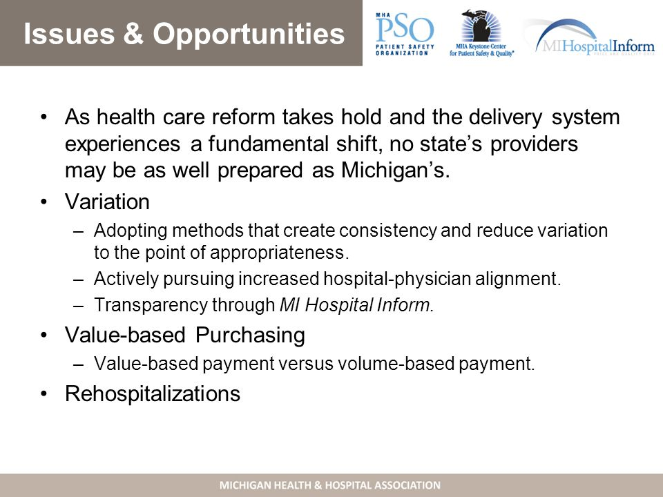 Issues & Opportunities As health care reform takes hold and the delivery system experiences a fundamental shift, no state's providers may be as well prepared as Michigan's.