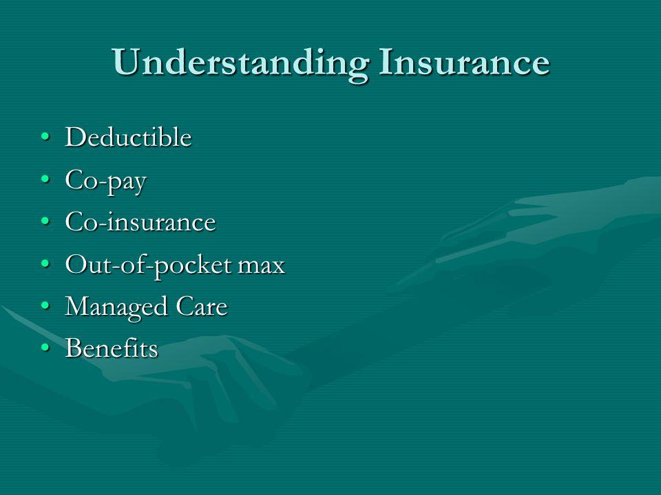 Understanding Insurance DeductibleDeductible Co-payCo-pay Co-insuranceCo-insurance Out-of-pocket maxOut-of-pocket max Managed CareManaged Care BenefitsBenefits