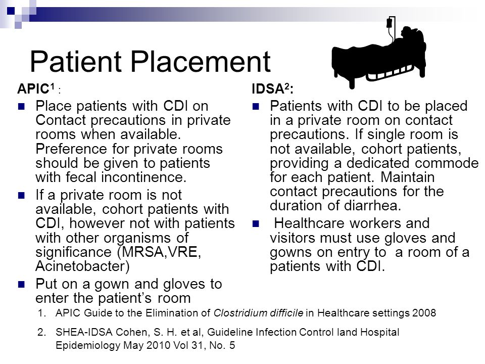 Patient Placement APIC 1 : Place patients with CDI on Contact precautions in private rooms when available.