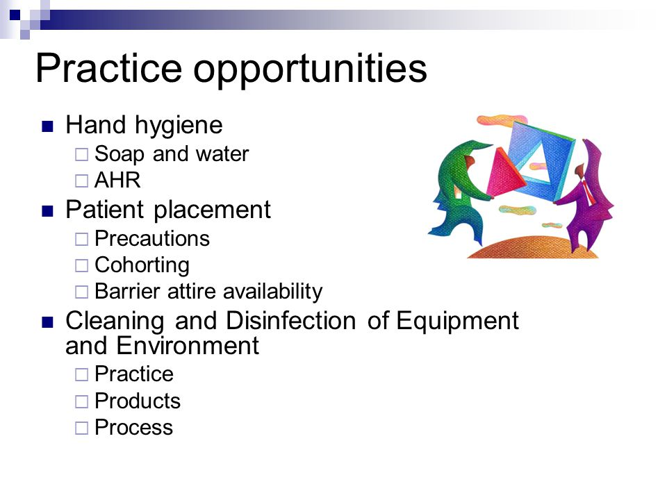 Practice opportunities Hand hygiene  Soap and water  AHR Patient placement  Precautions  Cohorting  Barrier attire availability Cleaning and Disinfection of Equipment and Environment  Practice  Products  Process