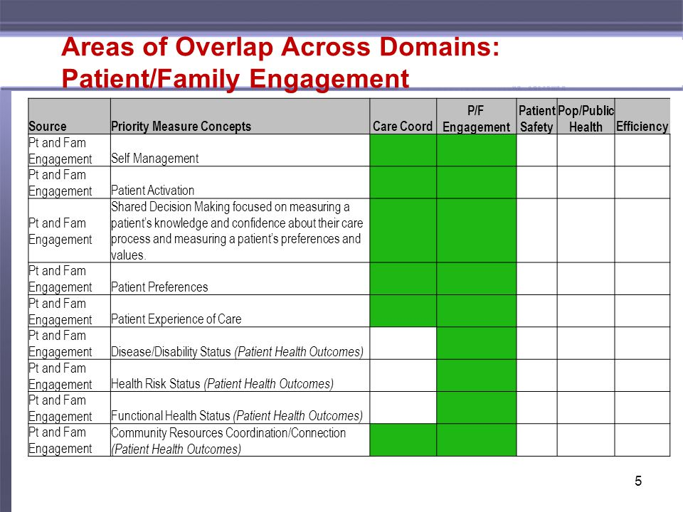 Areas of Overlap Across Domains: Patient/Family Engagement 5 SourcePriority Measure Concepts Care Coord P/F Engagement Patient Safety Pop/Public HealthEfficiency Pt and Fam Engagement Self Management Pt and Fam Engagement Patient Activation Pt and Fam Engagement Shared Decision Making focused on measuring a patient's knowledge and confidence about their care process and measuring a patient's preferences and values.