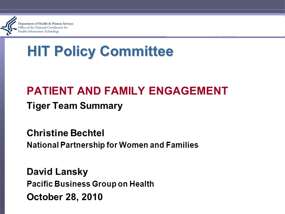 HIT Policy Committee PATIENT AND FAMILY ENGAGEMENT Tiger Team Summary Christine Bechtel National Partnership for Women and Families David Lansky Pacific Business Group on Health October 28, 2010