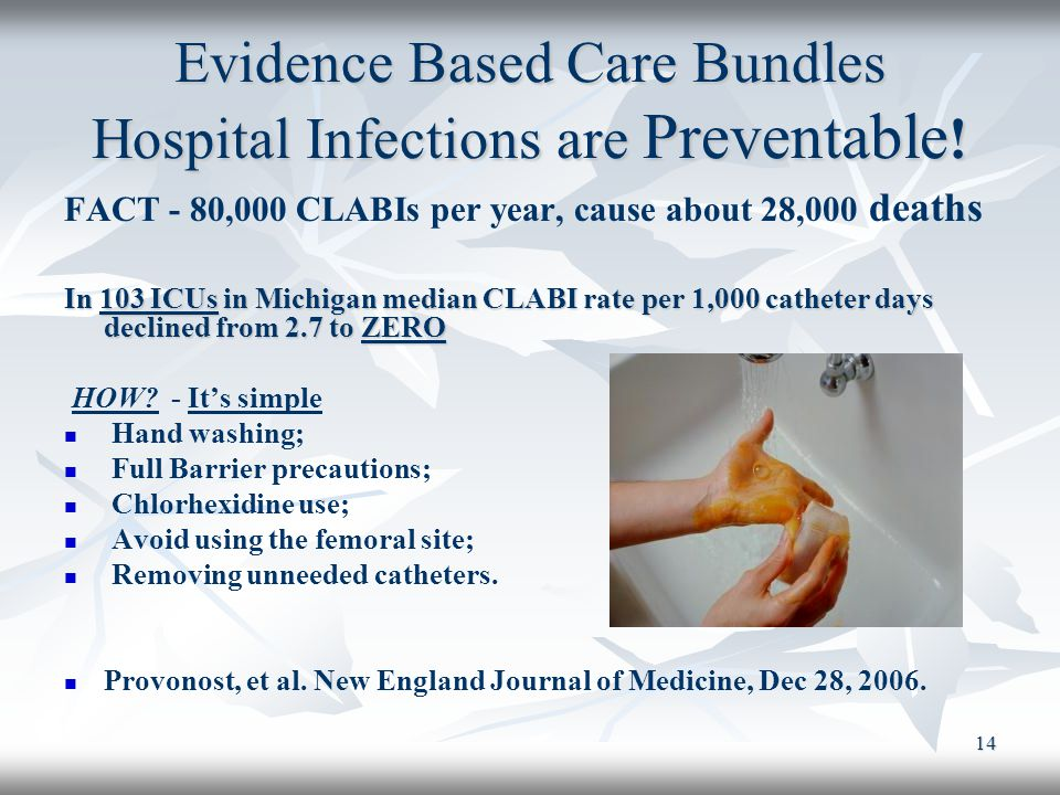 14 Evidence Based Care Bundles Hospital Infections are Preventable ! FACT - 80,000 CLABIs per year, cause about 28,000 deaths In 103 ICUs in Michigan