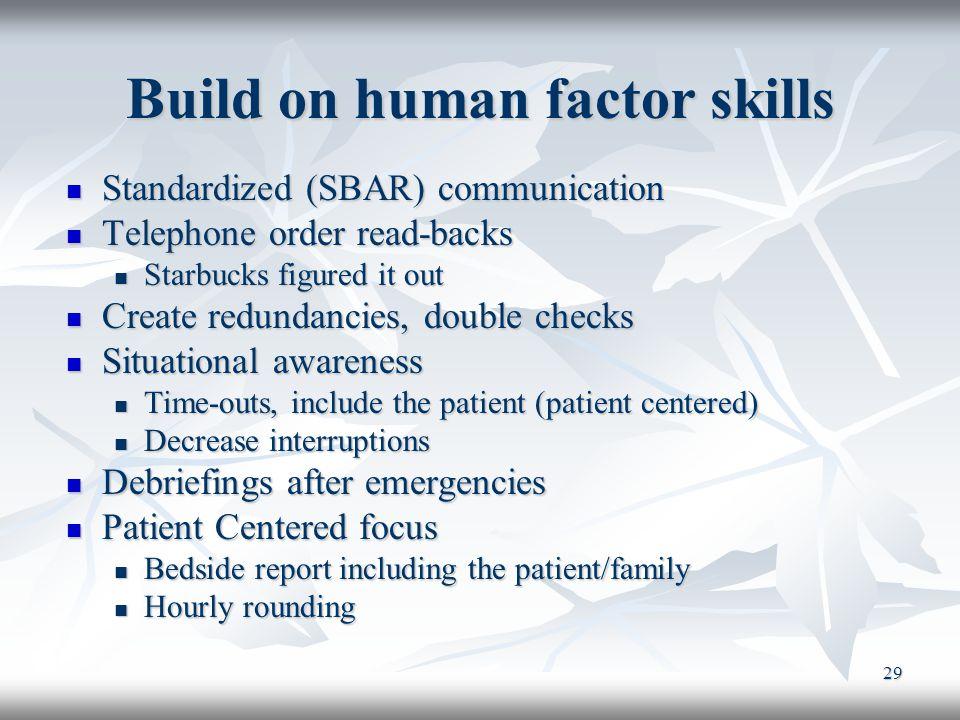 29 Build on human factor skills Standardized (SBAR) communication Standardized (SBAR) communication Telephone order read-backs Telephone order read-ba