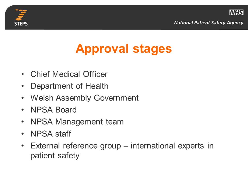 Approval stages Chief Medical Officer Department of Health Welsh Assembly Government NPSA Board NPSA Management team NPSA staff External reference gro