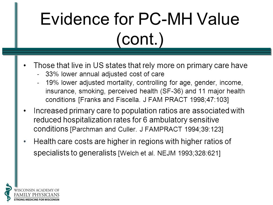 Evidence for PC-MH Value (cont.) Those that live in US states that rely more on primary care have - 33% lower annual adjusted cost of care - 19% lower adjusted mortality, controlling for age, gender, income, insurance, smoking, perceived health (SF-36) and 11 major health conditions [Franks and Fiscella.