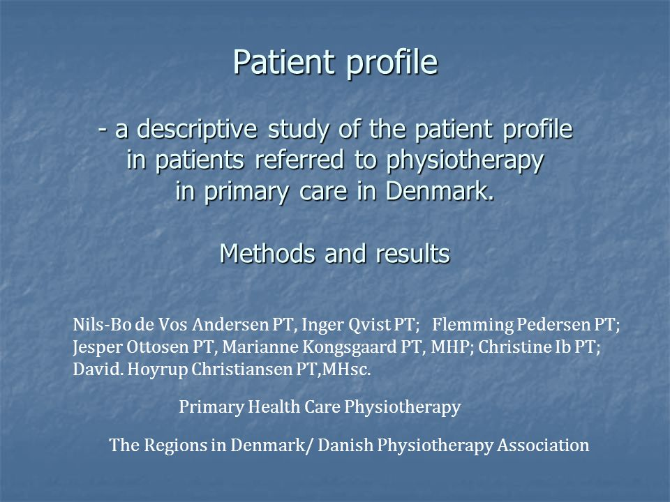Summary of keypoints and perspectives Knowing the patientprofile, we intend to analyse collected longitudinal data and registerdata in order to understand the possible prognosis of these patients Knowing the patientprofile, we intend to analyse collected longitudinal data and registerdata in order to understand the possible prognosis of these patients Enhance physiotherapist knowledge and abilities in order to identifing and stratifiing patients with a possible poor prognosis Enhance physiotherapist knowledge and abilities in order to identifing and stratifiing patients with a possible poor prognosis Improve communication in primary care between, physiotherapist and general practitioners, and also municipal communities, and second care sector Improve communication in primary care between, physiotherapist and general practitioners, and also municipal communities, and second care sector Promote a development of ongoin longitudinal datacollection in primary care physiotherapy, integrating into national databases Promote a development of ongoin longitudinal datacollection in primary care physiotherapy, integrating into national databases