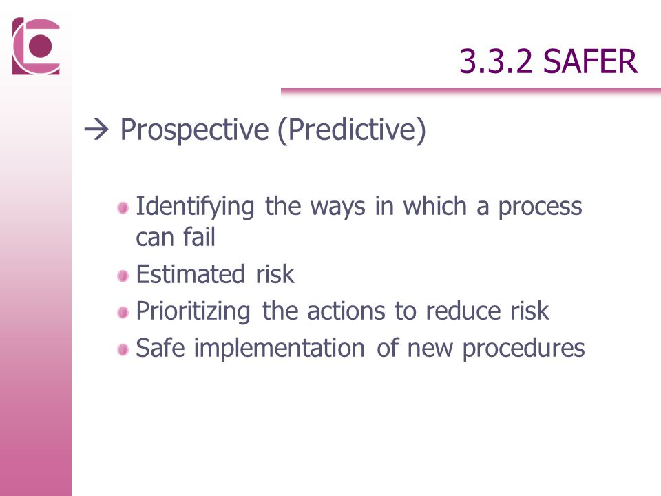 3.3.2 SAFER  Prospective (Predictive) Identifying the ways in which a process can fail Estimated risk Prioritizing the actions to reduce risk Safe implementation of new procedures