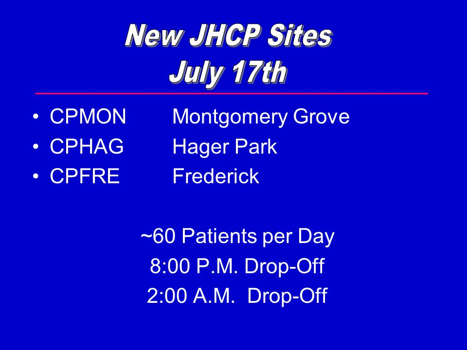 CPMONMontgomery Grove CPHAGHager Park CPFREFrederick ~60 Patients per Day 8:00 P.M. Drop-Off 2:00 A.M. Drop-Off