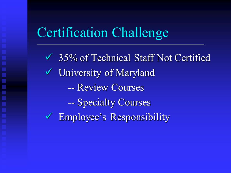 Certification Challenge 35% of Technical Staff Not Certified 35% of Technical Staff Not Certified University of Maryland University of Maryland -- Rev
