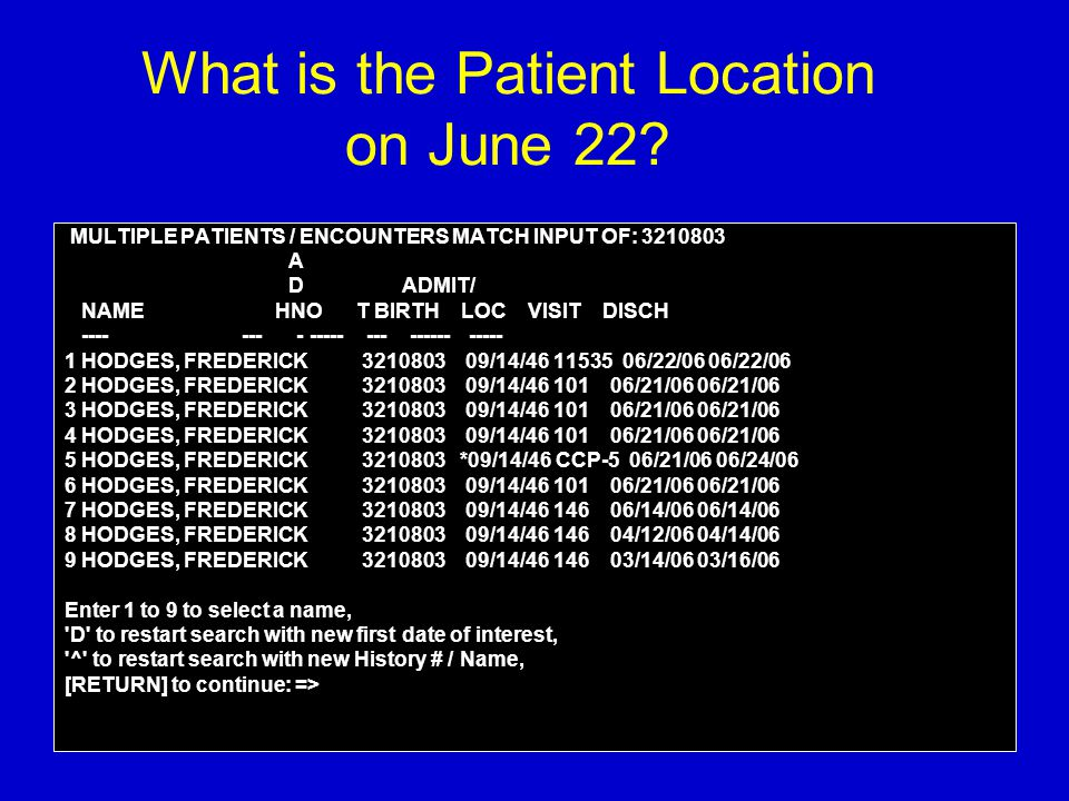 What is the Patient Location on June 22? MULTIPLE PATIENTS / ENCOUNTERS MATCH INPUT OF: 3210803 A D ADMIT/ NAME HNO T BIRTH LOC VISIT DISCH ---- --- -
