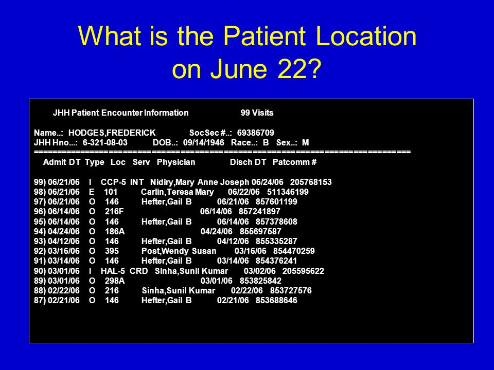 What is the Patient Location on June 22? JHH Patient Encounter Information 99 Visits Name..: HODGES,FREDERICK SocSec #..: 69386709 JHH Hno...: 6-321-0