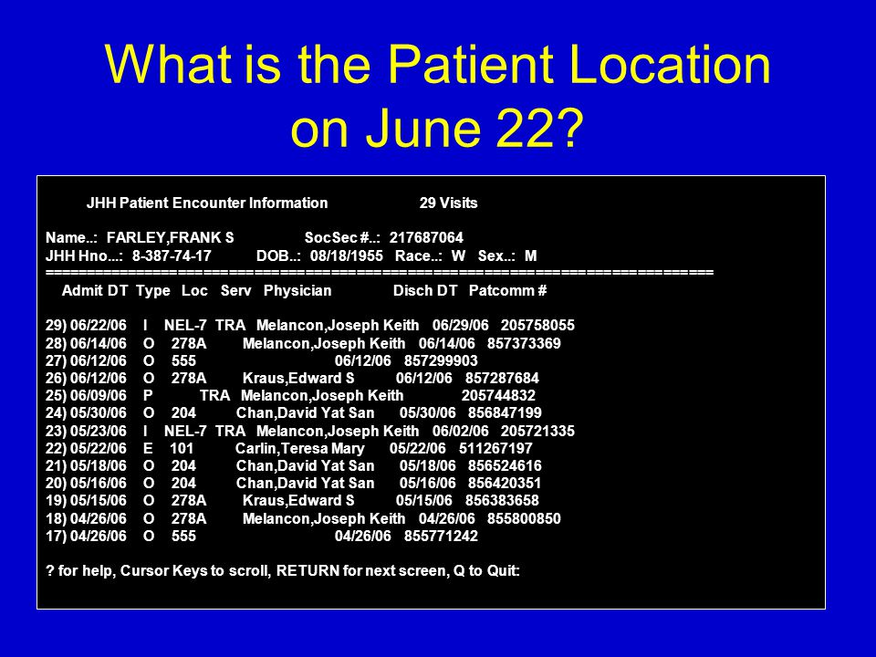 What is the Patient Location on June 22? JHH Patient Encounter Information 29 Visits Name..: FARLEY,FRANK S SocSec #..: 217687064 JHH Hno...: 8-387-74