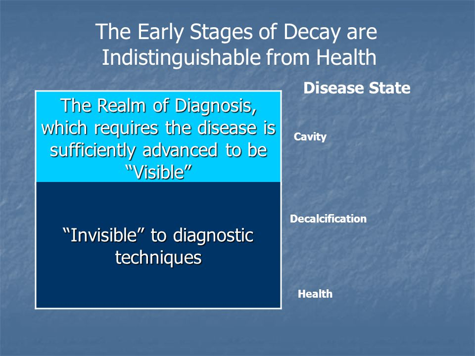 """The Realm of Diagnosis, which requires the disease is sufficiently advanced to be """"Visible"""" The Early Stages of Decay are Indistinguishable from Healt"""