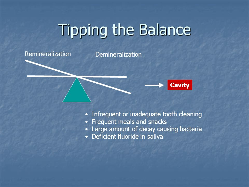 Tipping the Balance Remineralization Demineralization Infrequent or inadequate tooth cleaning Frequent meals and snacks Large amount of decay causing